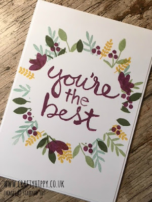 Hand stamped 'You're the Best' circular floral card made with the Watercolor Words stamp set by Stampin' Up!