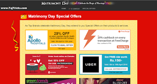Free Freecharge 20% cashback coupan from Matrimony Day Offer (proof added)(First On Net)
