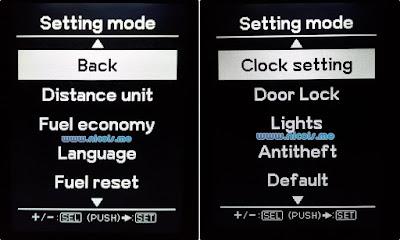 Setting mode MID Suzuki Ignis 2017