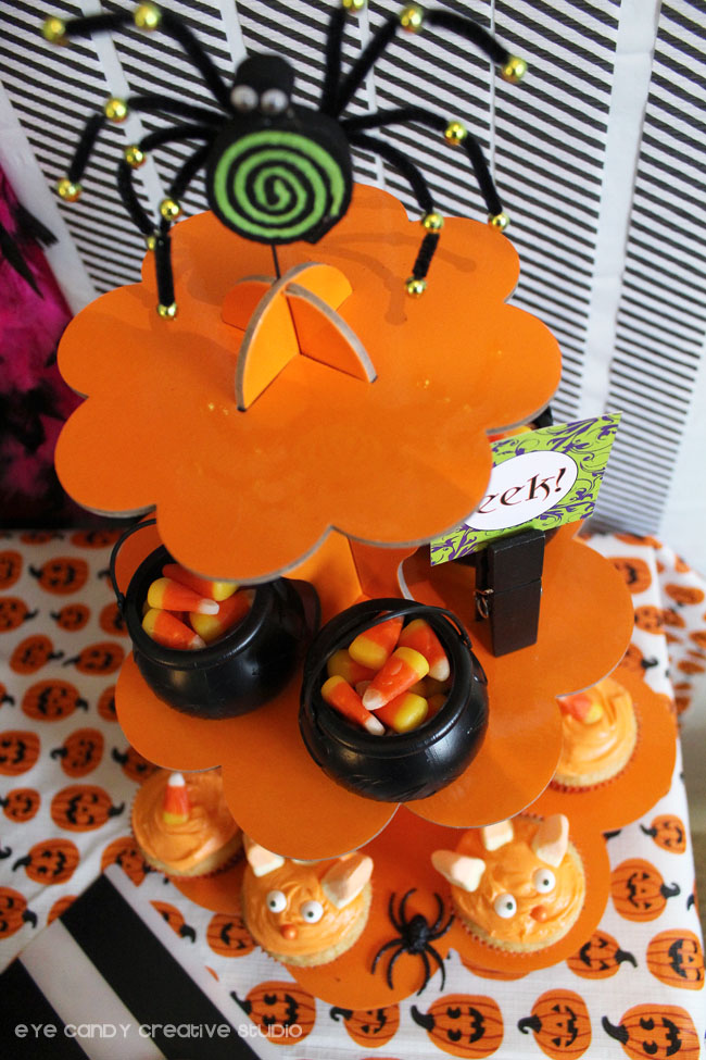 orange cakestand, monster cupcakes, candy corn cauldrons, spider