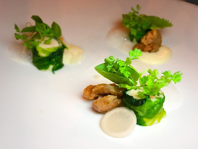 Shrimp mousse, sweetbreads cooked in beeswax at Commonwealth Restaurant