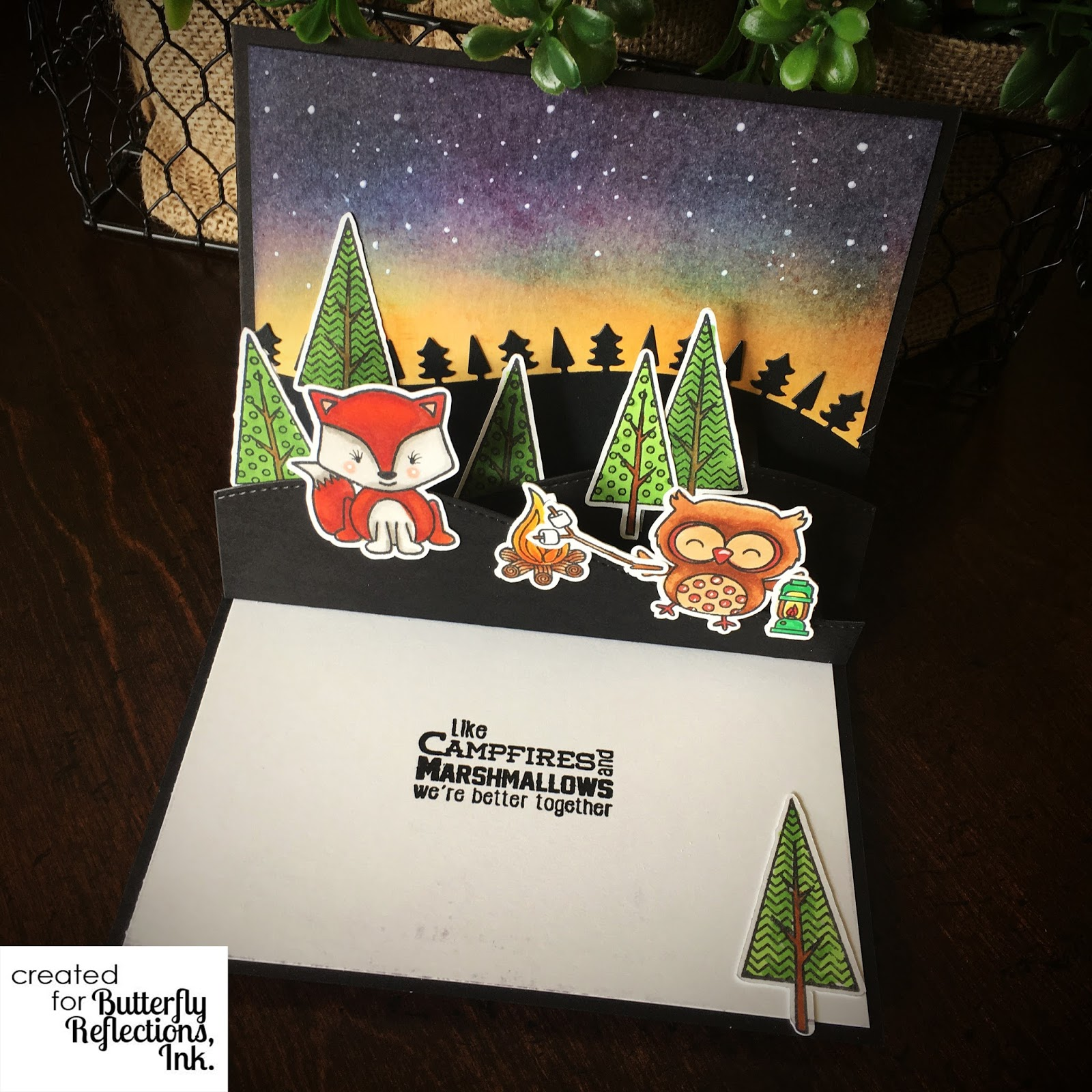 Camping Christmas Cards.Cute Camping Pop Up Card