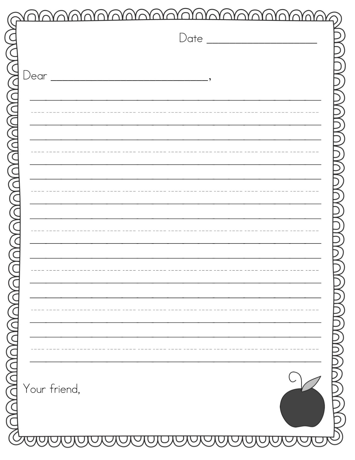 Thanksgiving writing paper for 2nd grade writing papers for Letter writing template for first grade