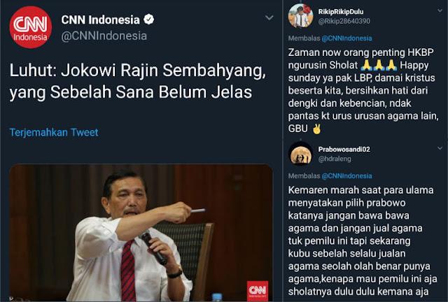 Kata Luhut: Jokowi Rajin Sembahyang, yang Sebelah Sana Belum Jelas, Begini Tanggapan Warganet