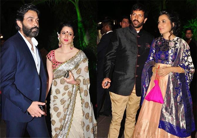 Bobby Deol with wife Tanya. Kabir Khan with wife Minni Mathur