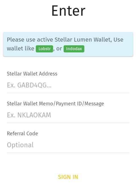 """silahkan mendaftarkan Alamat XLM dan memo Anda, kemudian masukkan kode refferal """"XXOXAWM"""" (tanpa petik) dan pilih """"Sign In""""."""