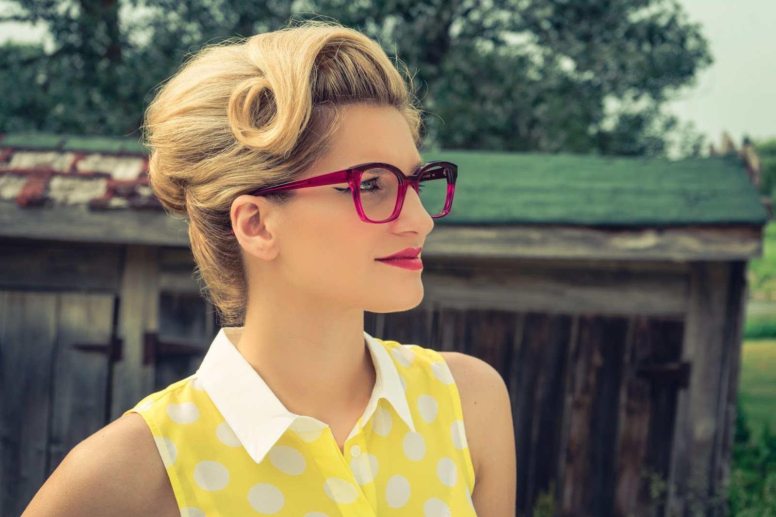 Bijuleni - Caroline Abram Eyewear with Vintage Pin Up hair