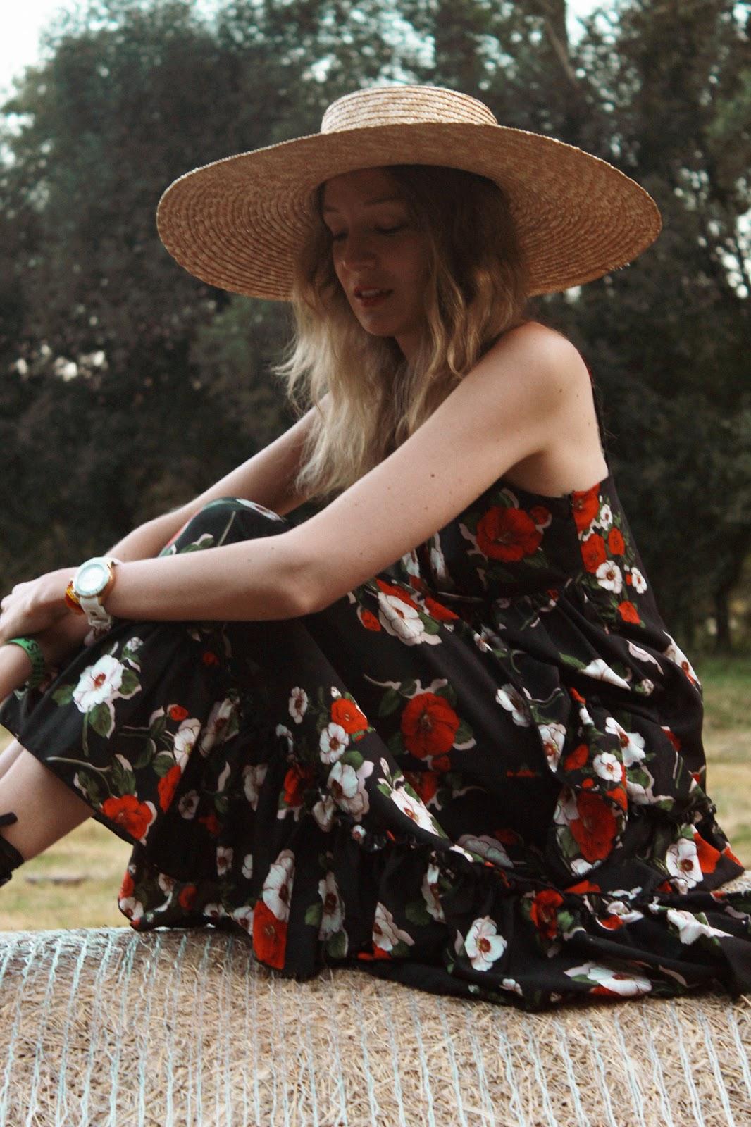 floral-maxi-dress-street-style-straw-hat-lookiero