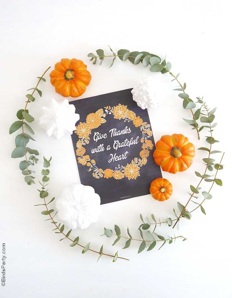 Free Printable Thanksgiving Chalkboard Sign | BirdsParty.com