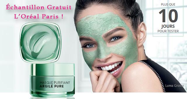 Échantillon Gratuit  Masque Visage Purifiant Argile Pure de L'Oréal Paris !
