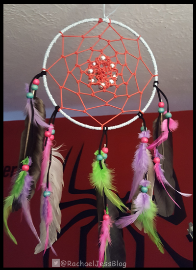 Hanging up the dream catcher in pride of place