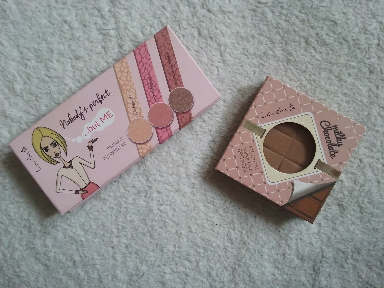 LOVELY - MILKY CHOCOLATE BRONZER ORAZ PALETA ROZŚWIETLACZY NOBODY'S PERFECT... BUT ME
