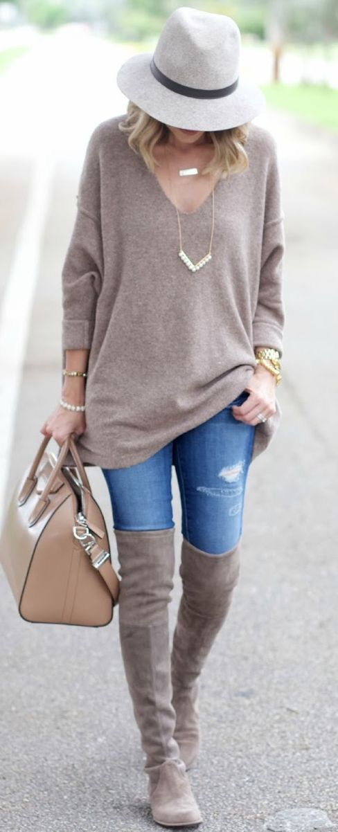 what to wear with a hat : sweater + bag + jeans + over knee boots