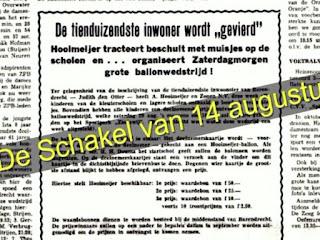 """Weekblad De Schakel Barendrecht, artikel """"de tienduizendste inwoner"""""""