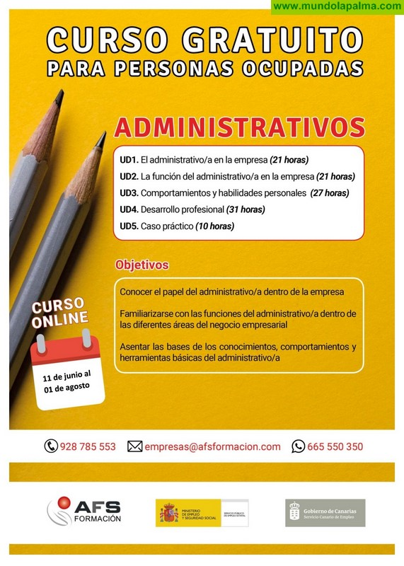 Curso de Administrativo 110 horas dirigido a trabajadores de la isla de La Palma