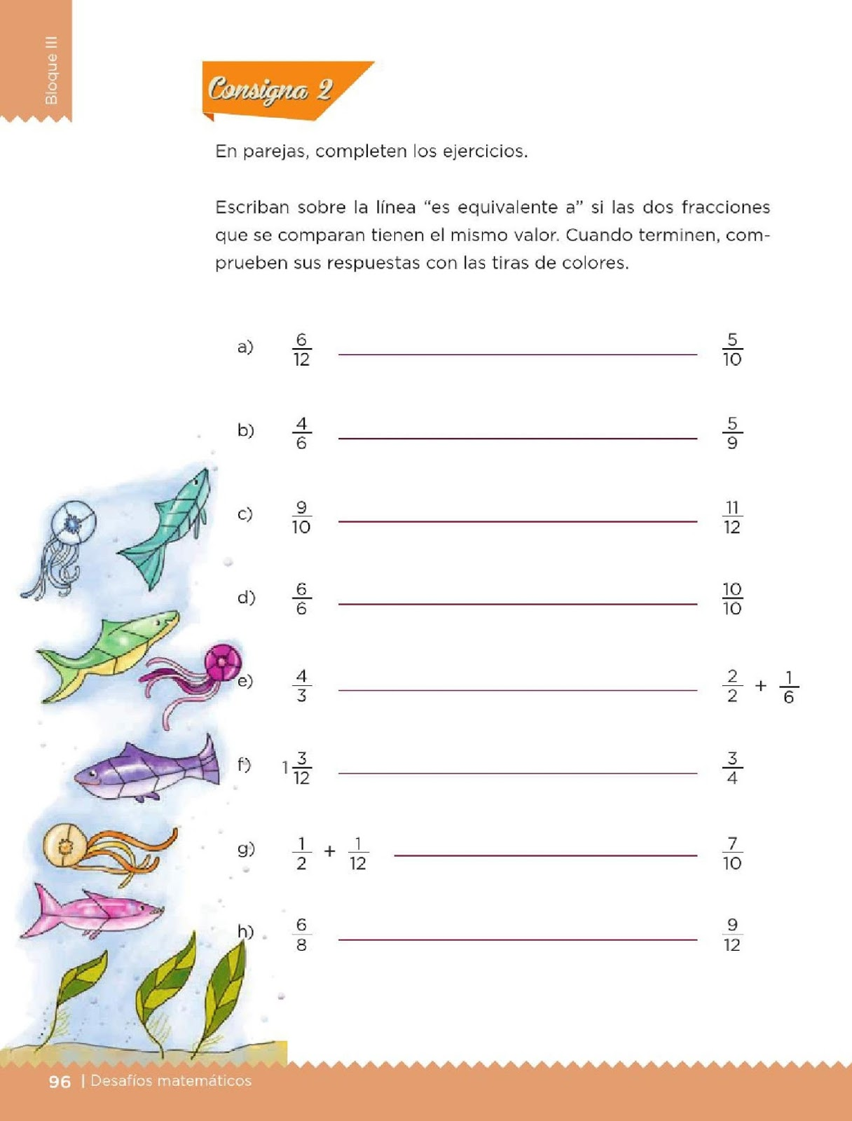 Matemáticos 4to. Grado Bloque III Lección 49 Tiras de colores