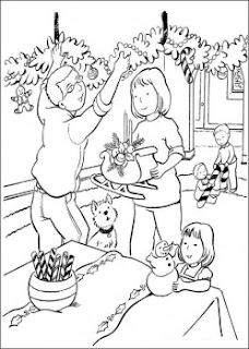 Christmas Decorations Family Printable Coloring Pages