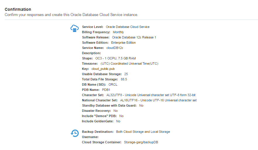 Database Cloud Service Summary