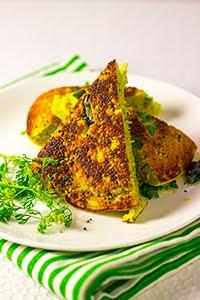 Kothimbir Vadi Coriander Chickpea Cake cilantro garbanzo steamed baked savory maharastrian vada wada pancake vegan