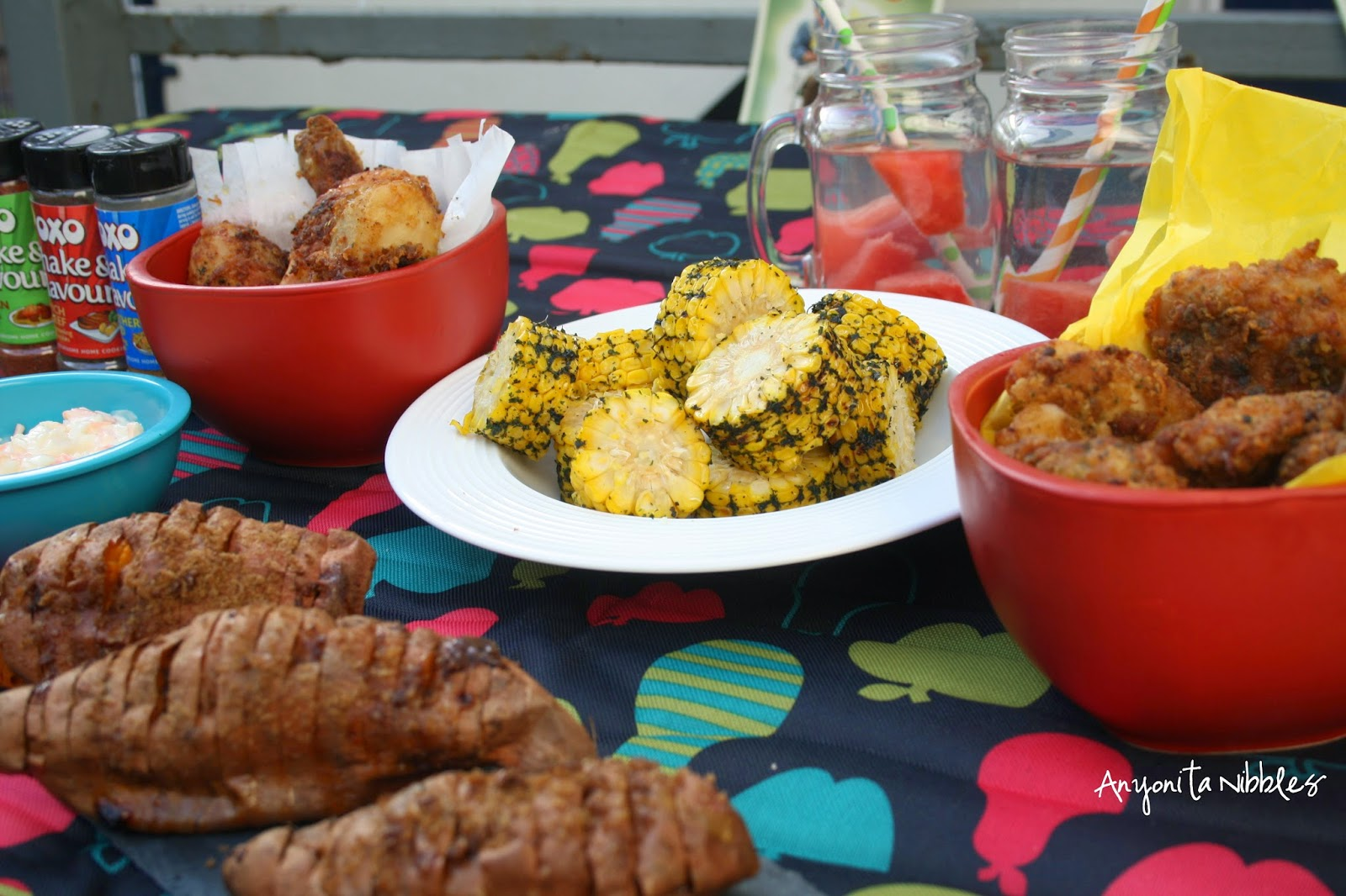 Chcken, Corn, Coleslaw, Sweet Potatoes and Watermelon Water by Anyonita Nibbles