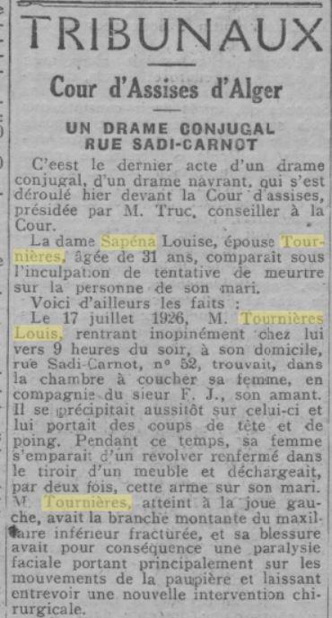 Article du 14 décembre 1927 dans l'Echo d'Alger