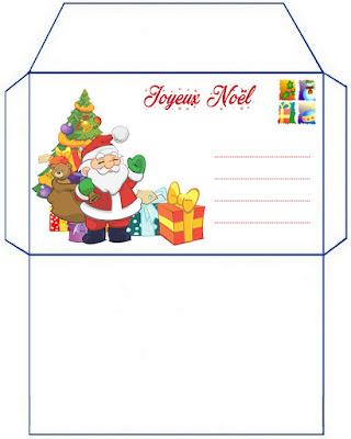 jolie enveloppe kit gratuit lettre pere noel à imprimer illustré dessin patron