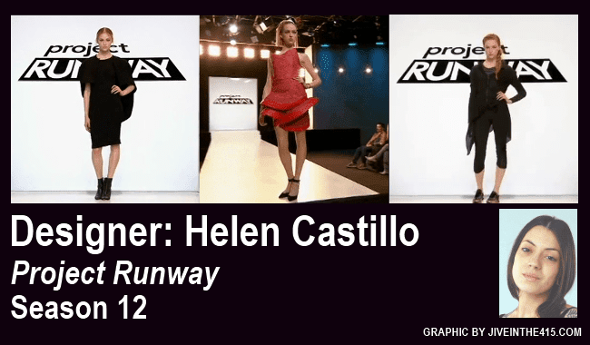 "Lifetime's ""Project Runway"" Season 12 contestant Helen Castillo's three winning looks."