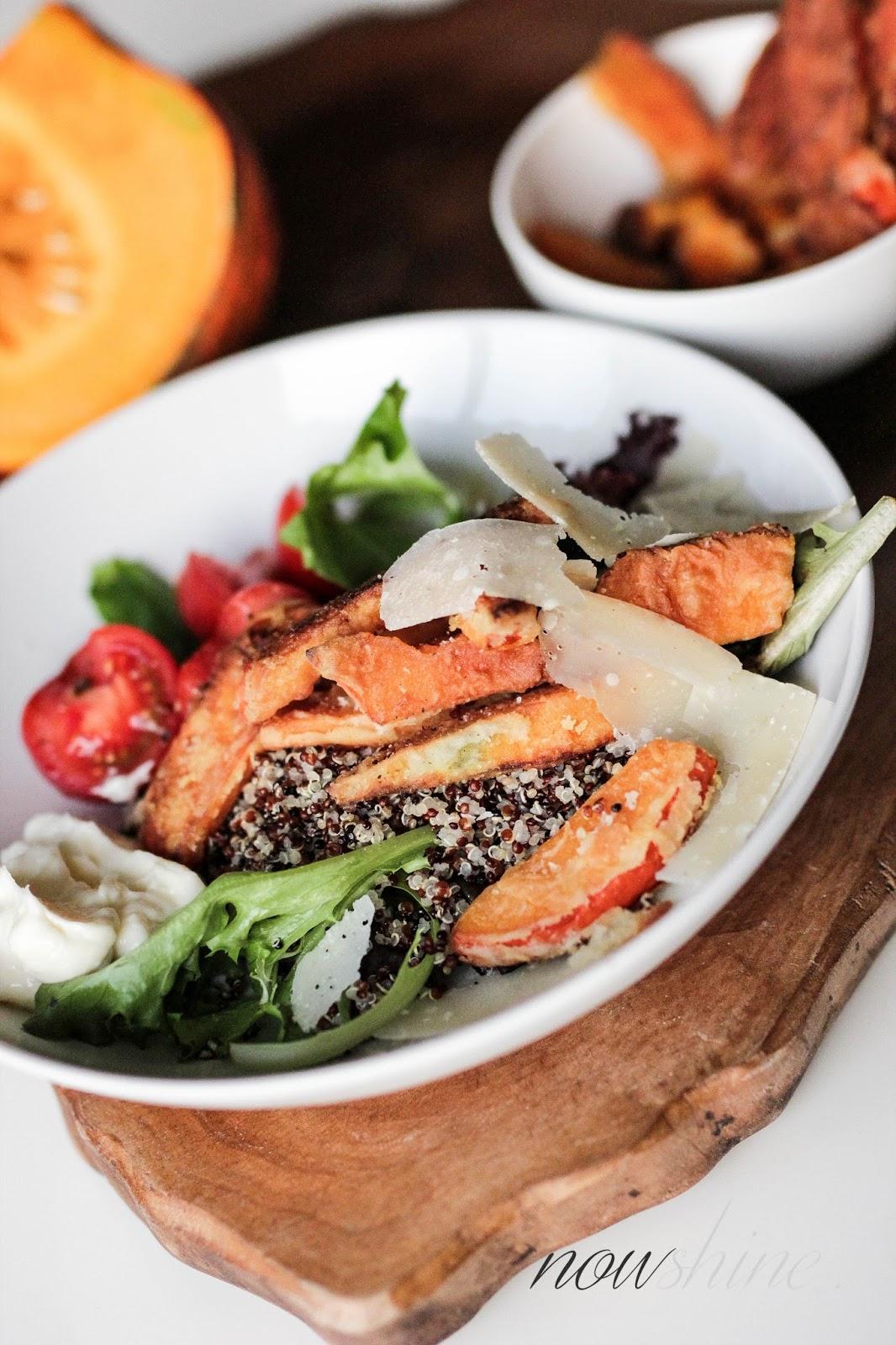 Herbstliches Quinoa Bowl Rezept mit Kürbis Pommer und Aioli passend zu Krombacher Alkoholfrei