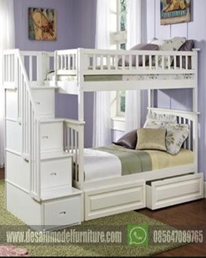dipan tingkat minimalis warna putih untuk anak
