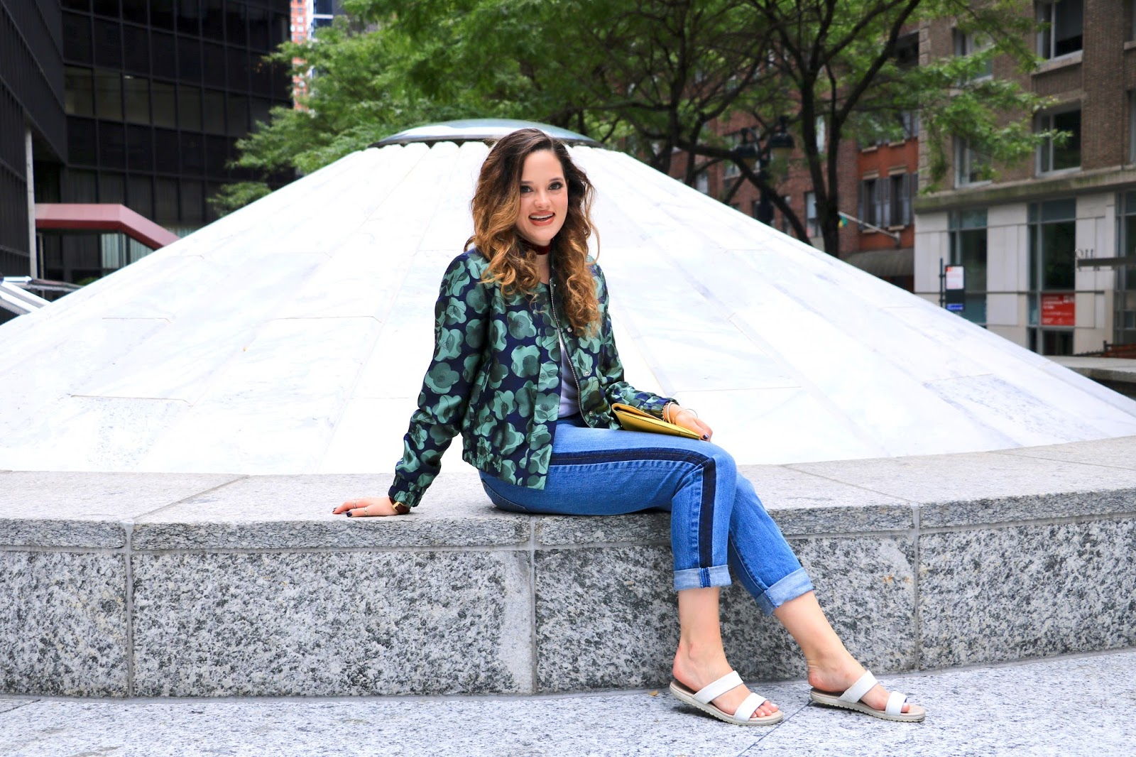 NYC Fashion blogger Kathleen Harper showing how to wear a bomber jacket