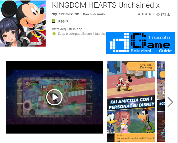 Trucchi KINGDOM HEARTS Unchained X Mod Apk Android v1.2.3