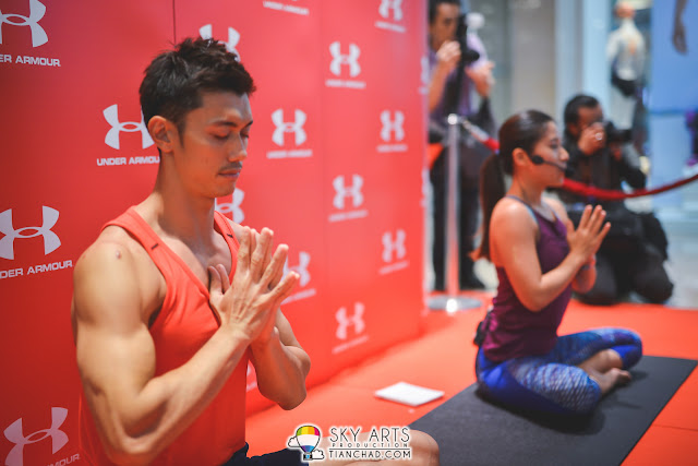 Hansen Lee and Robyn Lau had a Yoga Session at Under Armour Pavilion Kuala Lumpur brand house