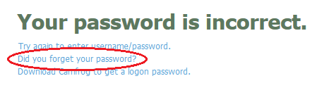 Lupa Password - Your Password is Incorrect