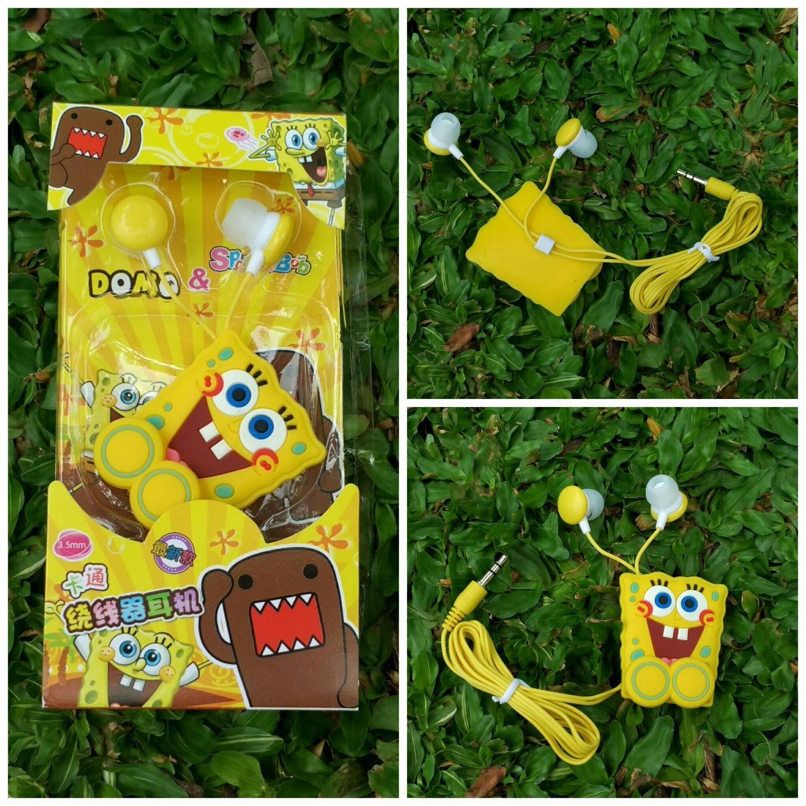 Headset Spongebob, aksesoris handphone; aksesoris hp, earphone spongebob, aksesoris smartphone, pernak pernik spongebob, spongebob collections, koleksi spongebob