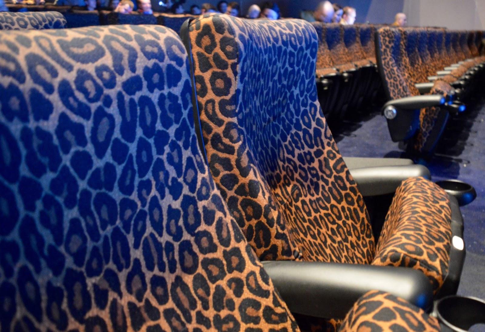 Leopard print cinema seats