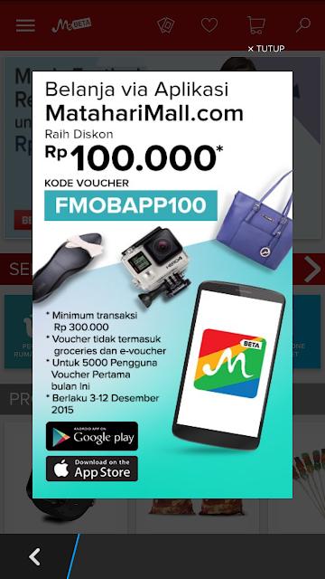 Cara Belanja Produk Mataharimall dengan Aplikasi HP Diskon Rp 100.000