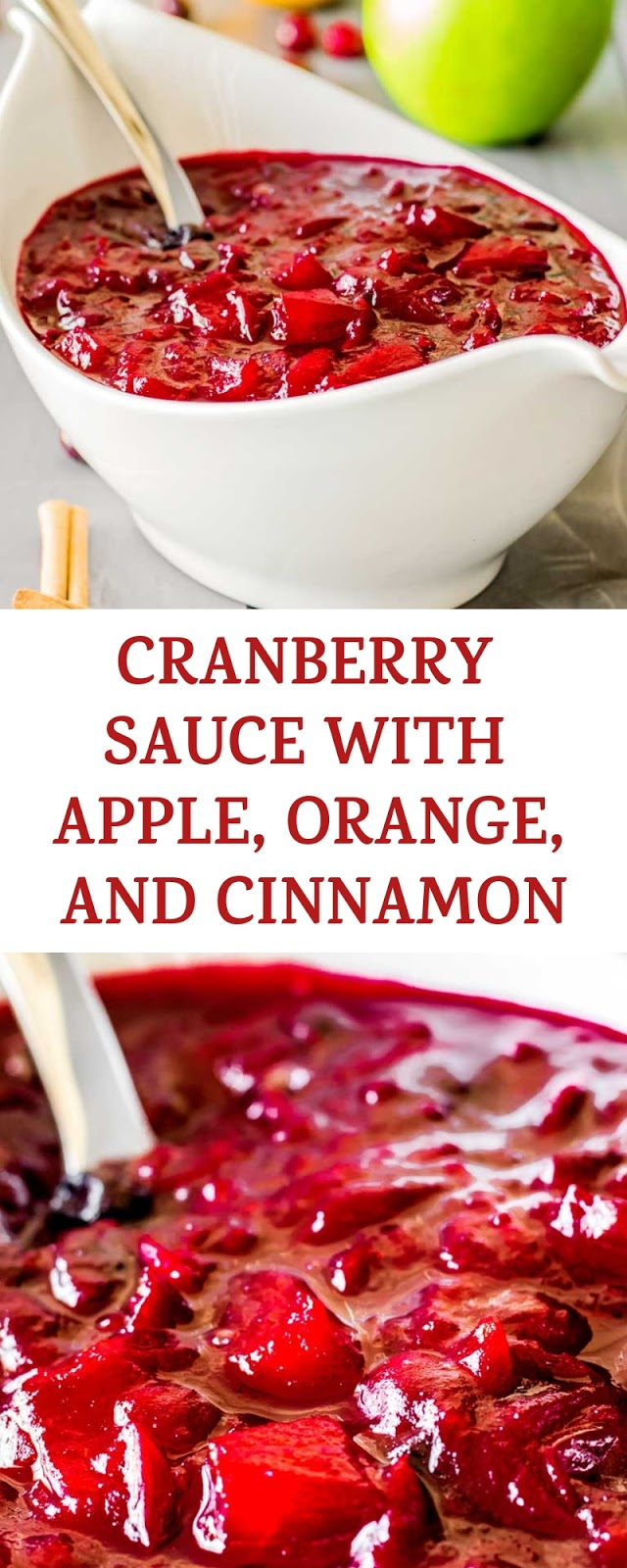 CRANBERRY SAUCE WITH APPLE, ORANGE, AND CINNAMON