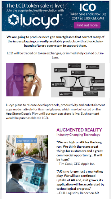 An initial coin offering for augmented reality smart glasses: you only live once...