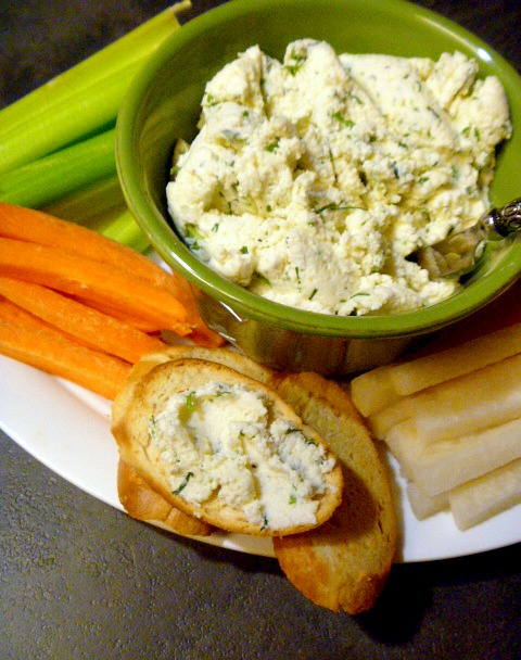 Herbed Ricotta and Parmesan Spread - perfect as an appetizer for game day or a holiday party. Slice of Southern