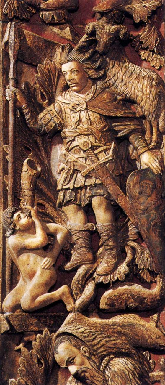 13th century bas-relief of the month of March, Central door, Basilica San Marco, Venice