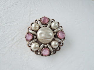 custom made pearl brooch with pink