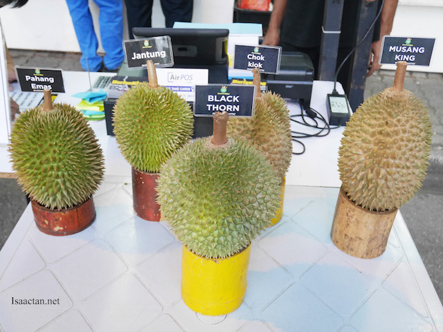 Some of the durians available at Durian King TTDI