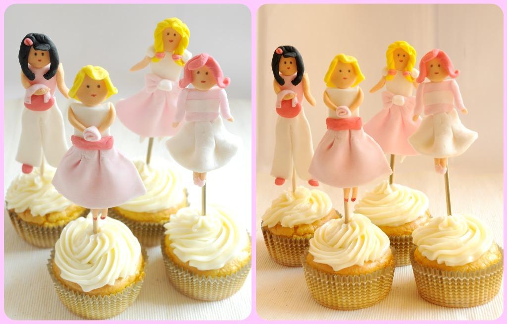 DIY Fondant Dolls Cupcake Toppers - via BirdsParty.com