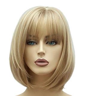 Bayan sarı küt saç peruk
