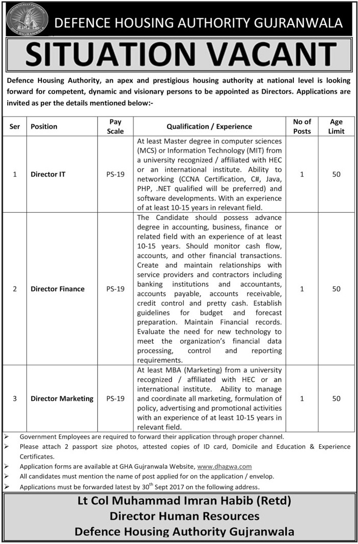Jobs In Defence Housing Authority DHA Gujranwala Sep 2017