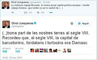 Tuit de Junqueras recordando la capitalidad de Damasco