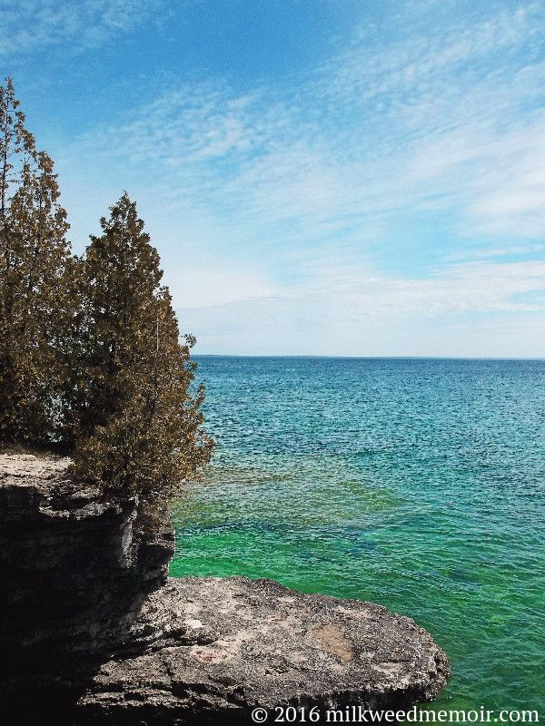 Is it the Caribbean? Is it the Maine Coast? No! Itu0027s the shores of Lake Michigan at Cave Point County Park in Door County Wisconsin. & Milkweed: A Memoir: Blue-green Lake Michigan Cave Point County Park ...