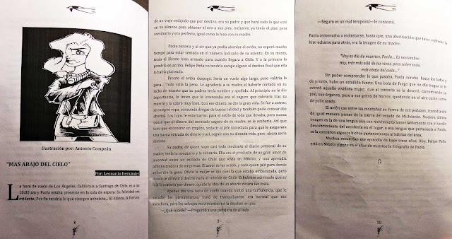 Escaneo de tres páginas de la historia Más abajo del cielo