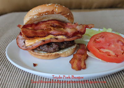 Easy Life Meal & Party Planning - Grilled Triple Decker Pork Burger - You can't beat a grilled ham slice topped with  pork burger, capped with bacon and a splash of BBQ Sauce = One Tasty Sandwich!