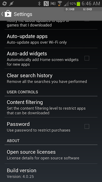 Google Play Store 4.0.25 setting